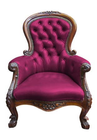 old sofa: vintage pink leather armchair on white with clipping path