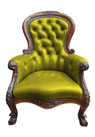 vintage green leather armchair on white with clipping path