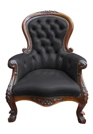old sofa: vintage black leather armchair on white with clipping path