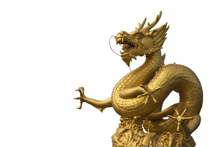 japanese culture: Golden dragon isolated on white with clipping path