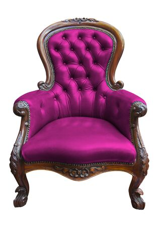 vintage pink leather armchair on white with clipping path photo