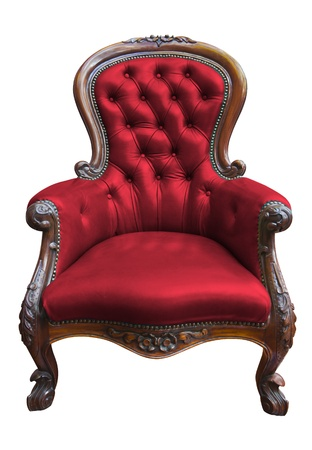 vintage red leather armchair on white with clipping path