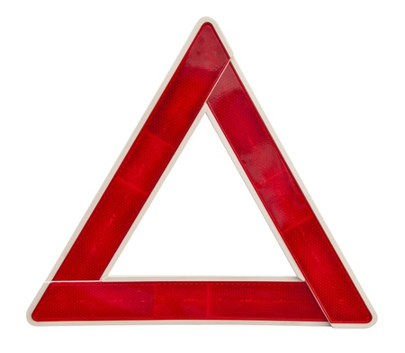 Red emergency triangle on a white with clipping path  photo
