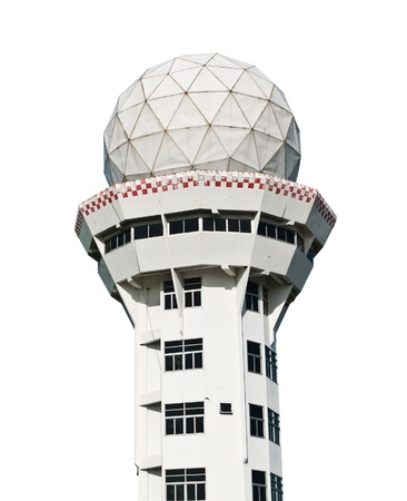 airport control tower on white with clipping path