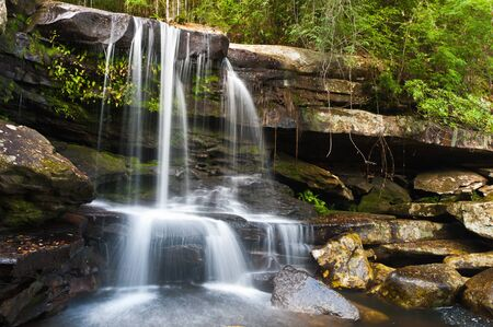 Waterfall in deep jungle, Phu Kradueng National Park, Loei Province, Thailand Banco de Imagens