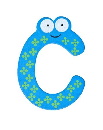 Colorful wooden alphabet letter C photo