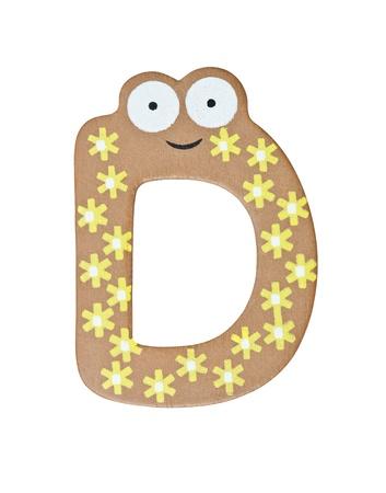 Colorful wooden alphabet letter D photo