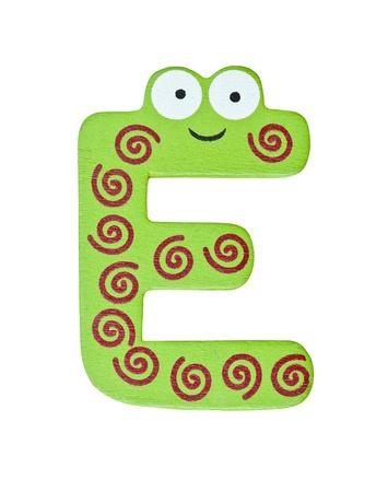 e alphabet: Colorful wooden alphabet letter E Stock Photo