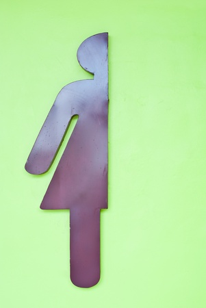Sign of public toilets for women on green wall photo