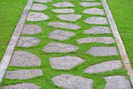 Stone walkway In Garden photo