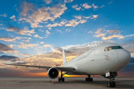 Commercial airplane with nice sky photo