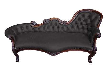 antique chair: Vintage black armchair on white