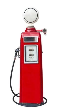 Antique gas pump on white