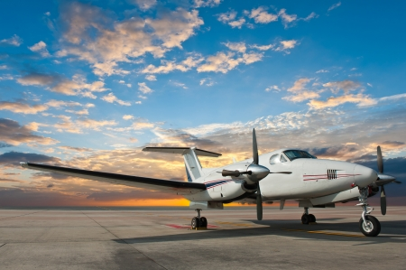 Propeller plane parking at the airport