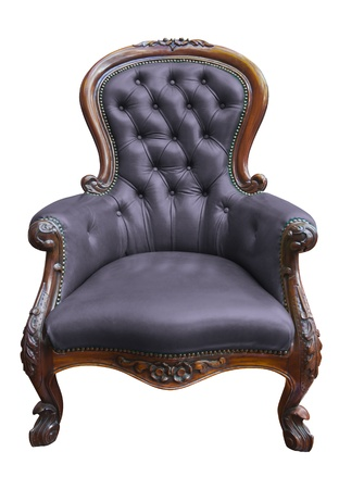 vintage purple leather armchair on white  photo