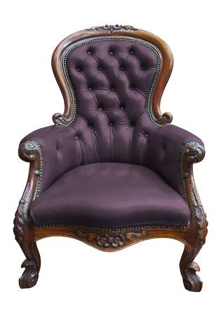 old sofa: vintage purple leather armchair on white