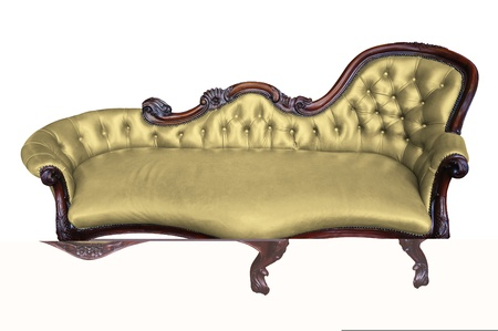 antique chair: Vintage yellow armchair on white  Stock Photo