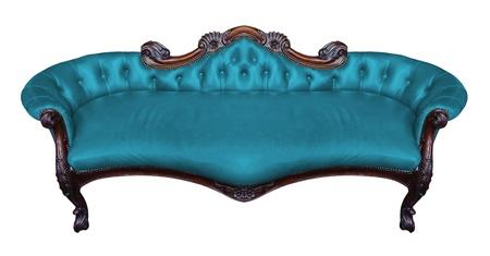 Vintage blue armchair on white  photo