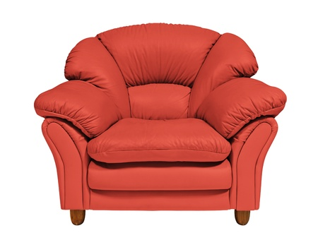 double beds: Red sofa