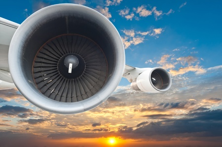 Close-up of a passenger airplane in the sky photo