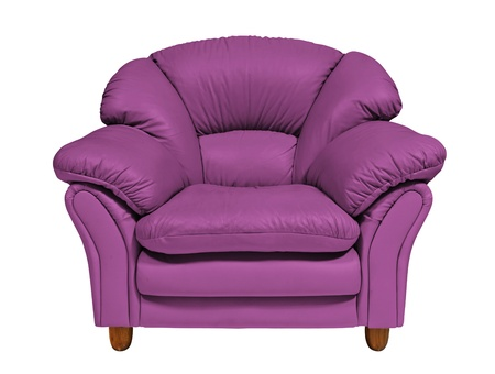 Purple sofa on white background photo