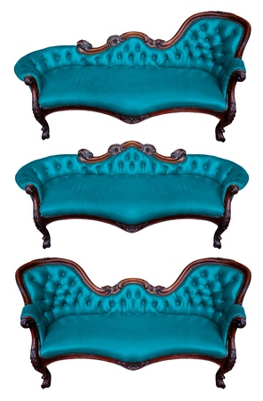 Set of blue leather armchair isolated on white photo