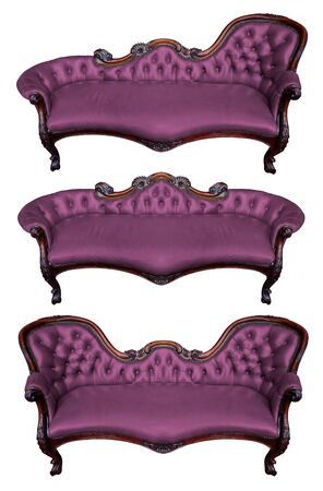 leather armchair: Set of purple leather armchair isolated on white Stock Photo