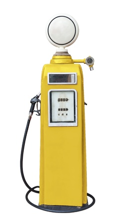 Antique yellow gas pump on white with clipping path photo