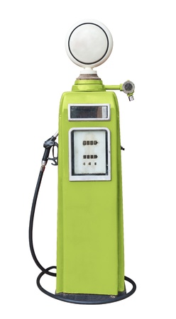 Antique green gas pump on white with clipping path photo