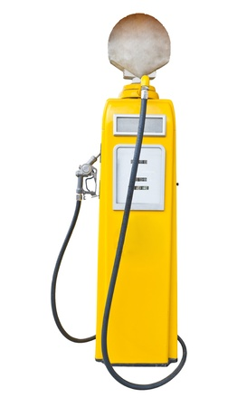 Antique yellow gas pump on white with clipping path Stock Photo - 14096527
