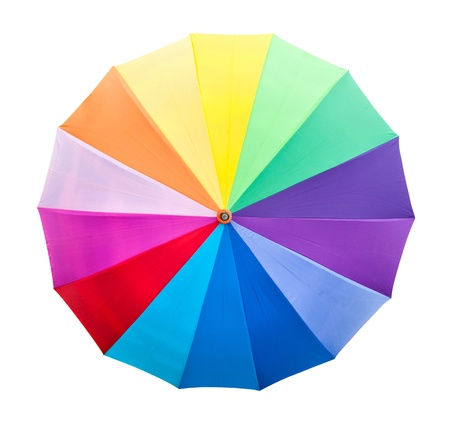 Colorful uColourful umbrella isolated with clipping pathmbrella on grass photo