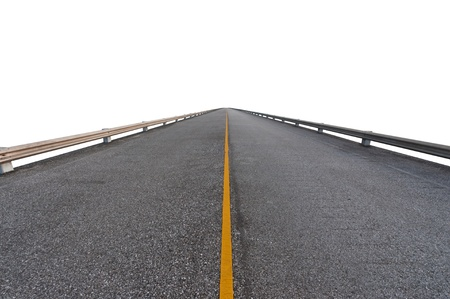 Asphalt road on white with path Stock Photo - 14381533