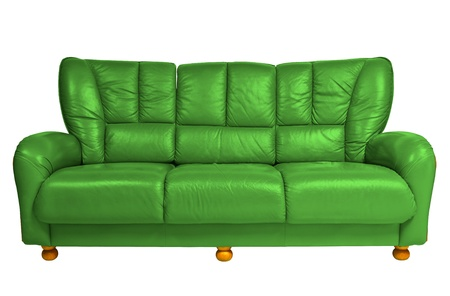 green modern sofa on white photo
