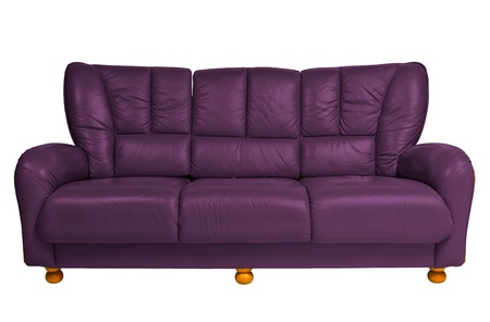 purple modern sofa on white photo