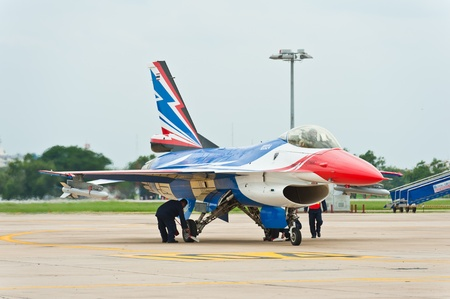 forefathers: BANGKOK - JUNE 30  F-16A  Century Falcon  on display at The Centennial of RTAF Forefathers