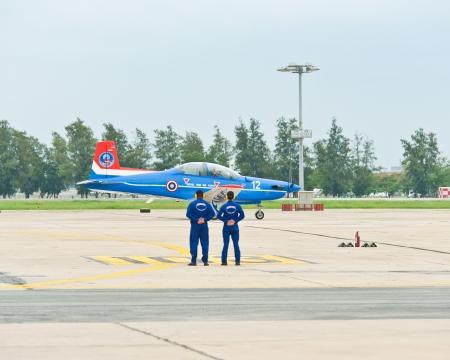 BANGKOK - JUNE 30 :PC-9M Blue Phoenix on display at The Centennial of RTAF Forefathers Aviation on JUNE 30, 2012, Don Muang Airport, Bangkok, Thailand