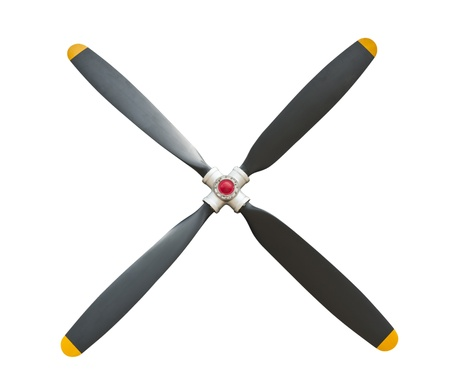 Plane propeller with 4 blades on white