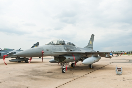 BANGKOK - JUNE 30 : f-16 on display at The Centennial of RTAF Forefathers Aviation on JUNE 30, 2012, Don Muang Airport, Bangkok, Thailand