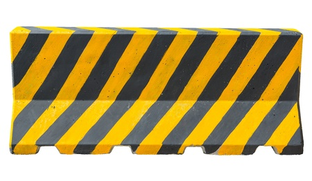 construction barrier: Yellow and black concrete barriers blocking the road on white with path