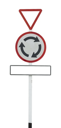 Roundabout road sign on white photo