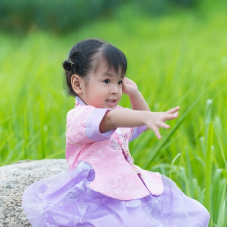 Little girl wearing a Traditional Hanbok photo