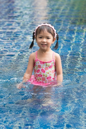 Little girl swimming in pool photo