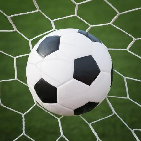 pelota de futbol: bal�n de f�tbol en la red