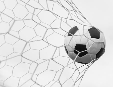 pelota de futbol: bal?e f?l en la red en blanco