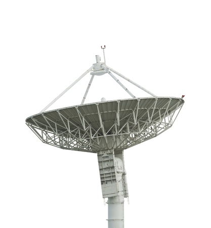 satellite antenna on white with path photo