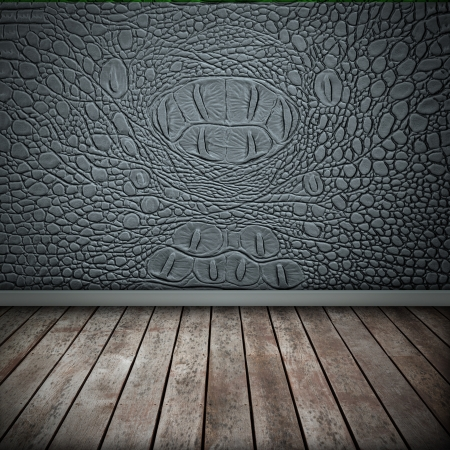 crocodile skin leather: Crocodile gray wall with wood floor texture interior Stock Photo