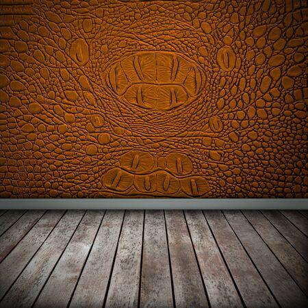 Crocodile orange wall with wood floor texture interior photo