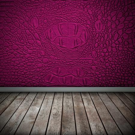 Crocodile pink wall with wood floor texture interior photo
