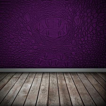 Crocodile purple wall with wood floor texture interior photo
