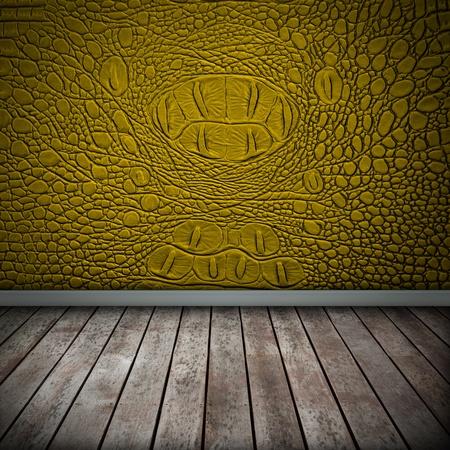 Crocodile yellow wall with wood floor texture interior photo